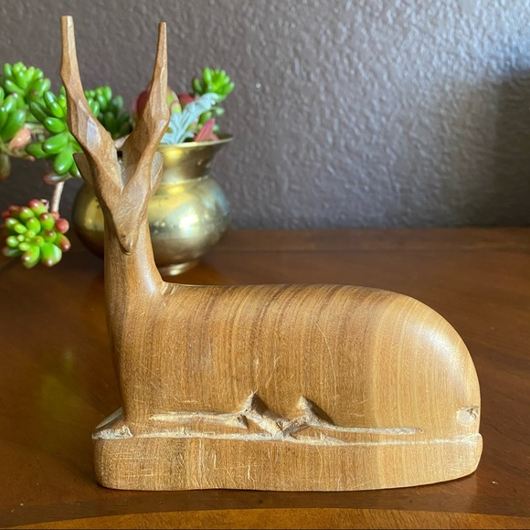 Hand Carved  Wood Antelope Laying Down